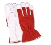 Working Gloves, Palm Made of Crust Goatskin with red interlock back, 4 Finger tips, Wing Thumb, Size: 9 - 11