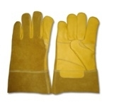 Leather Work Gloves, Palm and Thumb Double in Yellow Cowhide Leather, Back and cuff 7.5cm in Golden Brown Split Leather, Leather Rope on Finger Edges, Stitch with Kevlar Thread, Thickness: 1.1 – 1.3mm