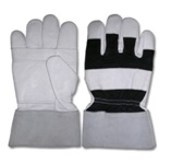 Leather Work Gloves, Palm in Cowhide Leather, Back Drill Cloth, Cuff 7.5cm in Split Leather, Thickness: 1.1 – 1.3mm